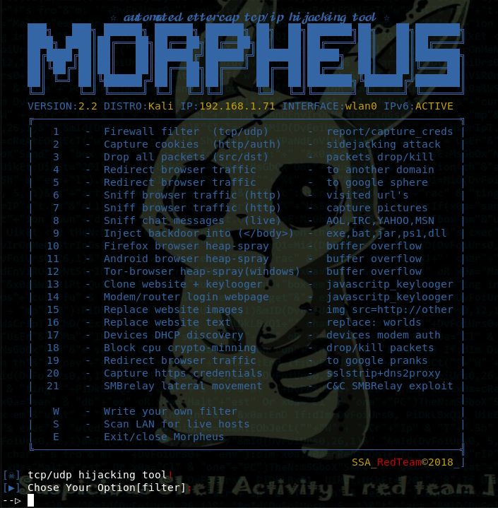 Morpheus - TCP/IP Hijacking Tool