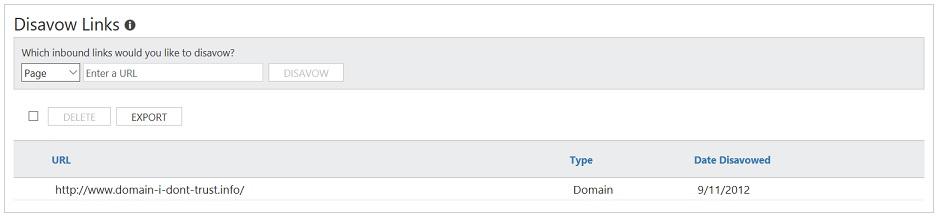 Negative SEO Disavow Bing