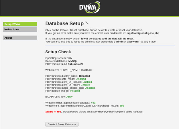 DVWA (Damn Vulnerable Web Application) Database Setup
