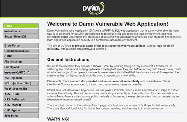 DVWA (Damn Vulnerable Web Application) Welcome Screen