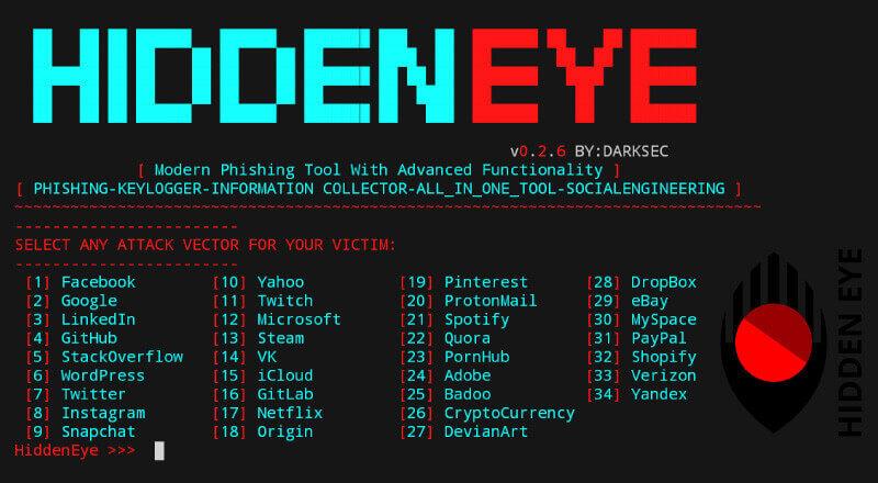 Hidden Eye: Modern Phishing Tool with Advanced Functionality