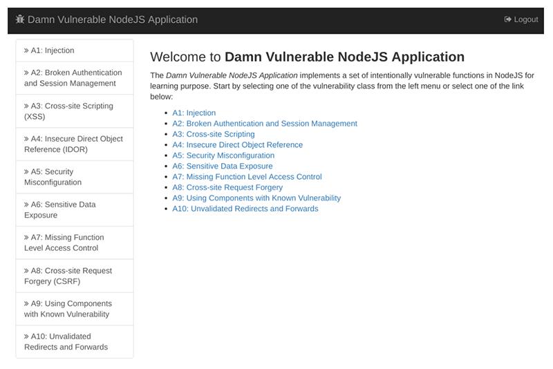 DVNA: Damn Vulnerable NodeJS Application Dashboard