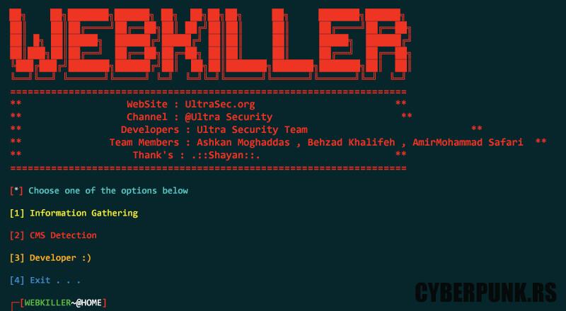 WebKiller: Information Gatherer Written in Python