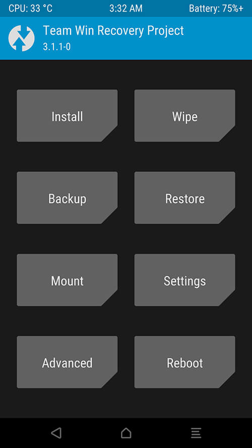 Root Android Phone: TWRP Home Screen